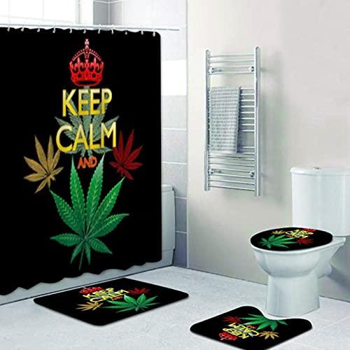 xingyundeshoop Reggae Rasta Keep Calm and Smoke Weed Cortinas De Ducha Jamaica Reggae Music Quote Cortina De Baño Esteras Juego De Alfombras Aseo Decoración del Hogar 150 (W) X180 (H) Cm