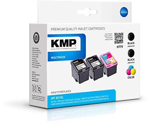 KMP Druckerpatrone für HP 301 XL Schwarz, Schwarz, 3-Farbig - Kompatibel - Tintenpatrone für HP Deskjet 2050 - Multipack Schwarz Color - Office Druckerzubehör