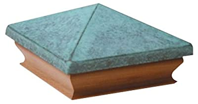 Woodway Large Pyramid Fence Post Cap 4 x 4– Copper Patina Outdoor Cap for Garden Deck Patio with Cedar Wood Base