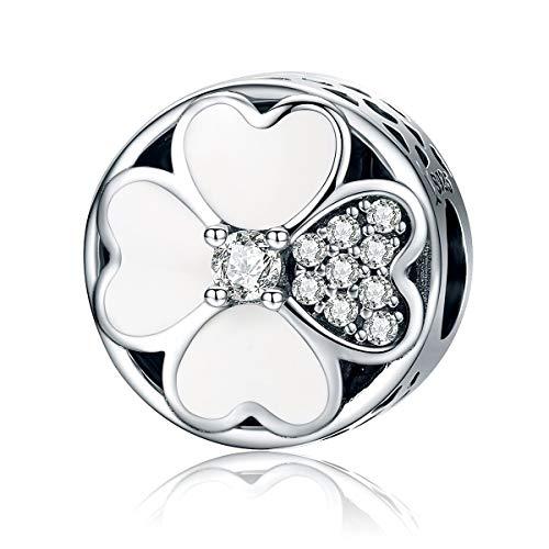 FeatherWish - Ciondolo a forma di quadrifoglio con cuore e foglie, smaltato bianco e zirconia cubica, in argento Sterling 925, compatibile con braccialetti o collane Pandora