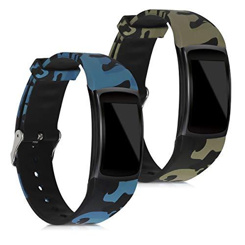 kwmobile 2X Cinturino Silicone Compatibile con Samsung Gear Fit2 / Gear Fit 2 PRO - Fascetta Gommata per Smart-Watch Fitness-Tracker - Camouflage Nero/Verde Chiaro/Verde Scuro