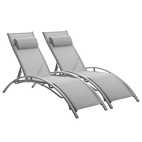 Set of 2 Outdoor Patio Chaise Lounge Chairs,Beach Pool Reclining Adjustable Lounge Chair with Headrest for Patio Beach Yard Pool