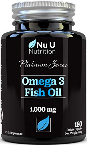Omega 3 Fish Oil 1000mg Double Strength EPA & DHA Softgel Capsules | 180 (6 Month Supply) Premium Fish Oil Capsules 1000mg | Made in The UK by Nu U Nutrition