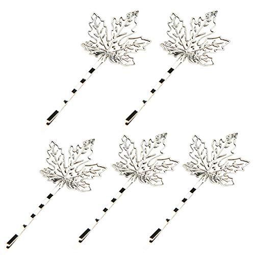 Niumanery 5Pcs Women Alloy Bobby Pin Hair Clip Metal Maple Leaf Bridal Side Bangs Hairpin Silver