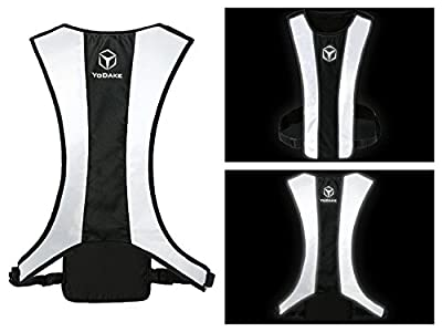 YODAKE Fashion Reflective Safety Vest of Unique Design with Pocket for Running and Walking Etc. - Large Area Reflective, Lightweight & High Visibility Night Running Vests