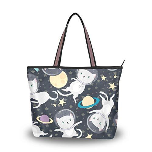 Jessgirl Große haltbare süße Katze Astronaut im Weltraum M süße Tasche Männer Leinwand Handtasche Einkaufstasche mit Taschen für Frauen