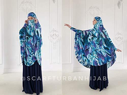 Amazon Com Transformer Blu Purple Khimar Jilbab Hijab Nikab Islamic Wear Ready To Wear Hijab Prayer Scarf Long Hijab Burqa Handmade