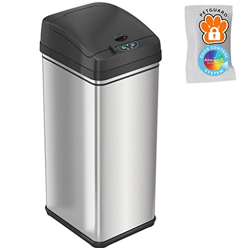 iTouchless 13 Gallon Pet-Proof Sensor Trash Can with AbsorbX Odor Filter Kitchen Garbage Bin Prevents Dogs & Cats Opening Lid, Stainless Steel plus PetGuard