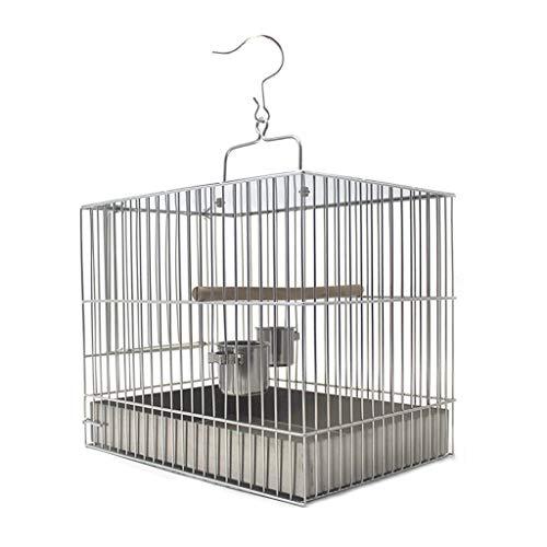 ZYLBDNB Voliera per pappagalli Gabbia per Uccelli in Acciaio Inossidabile con Gabbia per Bagno Fuori dalla Gabbia da Viaggio Facile da Pulire (Quadrata) voliera per Uccelli (Dimensione : 27cm High)