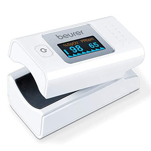 Beurer PO 35 Pulsioxímetro, medición de la saturación de oxígeno (SpO2) y de la frecuencia cardíaca (pulso), uso indoloro, pantalla a color de fácil lectura, visualización de la frecuencia cardíaca