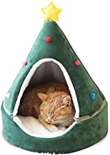 laamei Cat Tent Cave Bed, Cat House Bed, Cat Igloo 2-in-1 Self-Warming Comfortable Triangle Cat Bed Pet Tent House