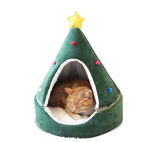 laamei Cat Cave Bed, Cat Tent House Self-Warming Christmas Decor Pet Cat Bed Semi-Closed Shape Tree Pet Nest Cat Condo Pet Cat Shelter House Large Green Star