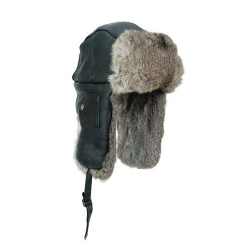 Mad Bomber Black Leather Pilot Aviator Bomber Hat Real Rabbit Fur Trapper Hunting Cap, Medium