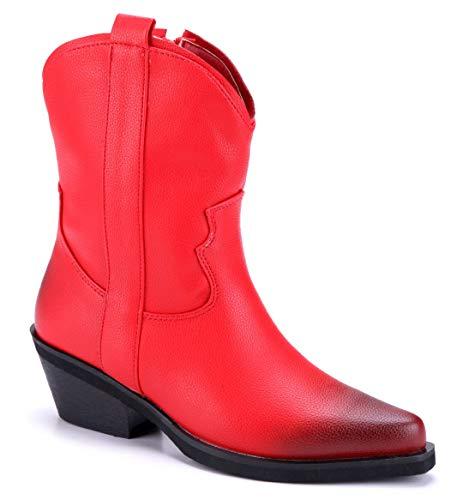 Schuhtempel24 Damen Schuhe Westernstiefel Stiefel Stiefeletten Boots rot Trichterabsatz Used Look 6 cm