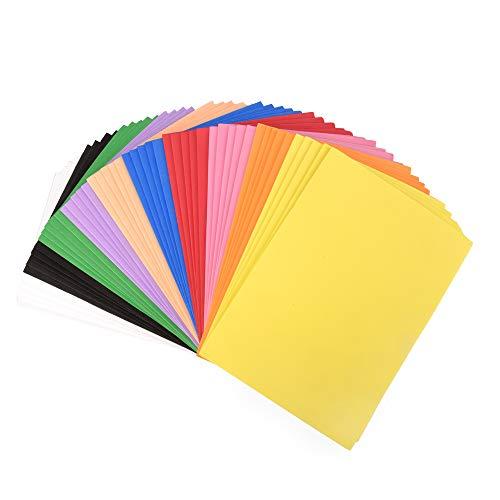 ewtshop® Mossgummi DIN A5, 50 Blatt in 10 Farben, Moosgummi, Schaumstoff für Bastelarbeiten Aller Art