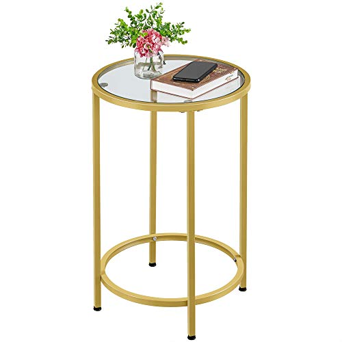 Round Side Table Glass Top End Table w/Metal Frame Now $37.99