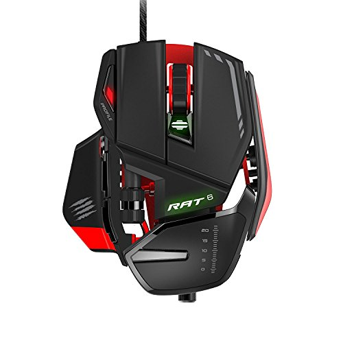 Mad Catz RAT6 Wired Laser USB LED RGB Mouse with 11 Programmable Buttons, Weight Adjustable - Black