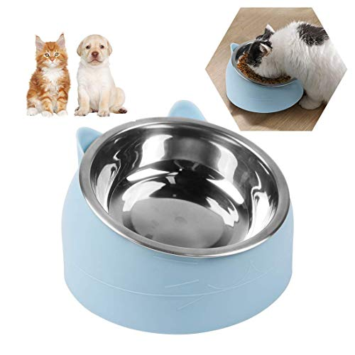 O-Kinee Fressnäpfe für Katzen,Futternäpfe Katzenfutter,Katzennapf Erhöht,Hundenapf rutschfest,Katzennapf Set,15°Geneigte Plattform,für Katze Welpe Futter und Wass,Herausnehmbarem Edelstahlnapf 200ML