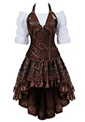 3-piece outfits for women clubwear: Corset with Women's Off Shoulder Short Sleeves Ruffles Blouse Shirt Crop Top and Tutu Skirt Adult Tulle Short Petticoat with Ruffles Gothic Vintage Dance Party Skirt Fashionable and Sexy party Costume: corset set y...