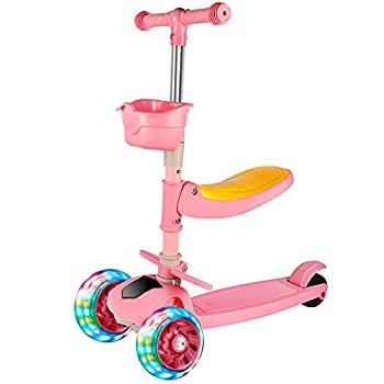 PERZCARE 3 Wheel Kick Scooters for Kids - LED Lights Wheel  Adjustable Lean-to-Steer Handlebar with Foldable Removable Seat - Sit or Stand Ride with Brake for Boys and Girls 2-14 Years