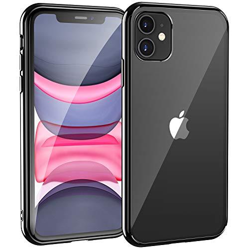Syncwire Hülle Kompatibel mit iPhone 11, [Ultra Clear, Anti-Gelb, Kratzfest, Fallschutz] Durchsichtig Handyhülle, Schutzhülle mit weicher Silikon Bumper & Hartplastik Rückseite, Schwarzer Rand