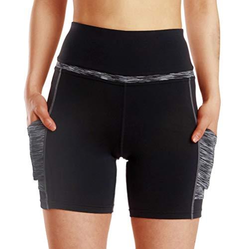 BESPORTBLE Frauen Yoga Shorts Hohe Taille Bauch Kontrolle Sport Shorts mit Taschen Mittellanger Aktiver Kurzschluss für Fitness Yoga Laufen Workout Fitness
