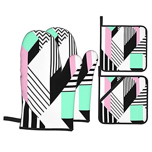 Juego de 4 Manoplas y Soportes para ollas,Coloridos Patrones geométricos de Memphis en Forma Abstracta Moderna,Divertido Bauhaus,Guantes para Barbacoa con Forro acolchador