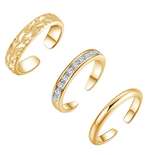 YAZILIND Sexy Simple Foot Toe Ring Opening Adjustable Feet Rings Set Jewelry-3 Pieces(Gold Plated)
