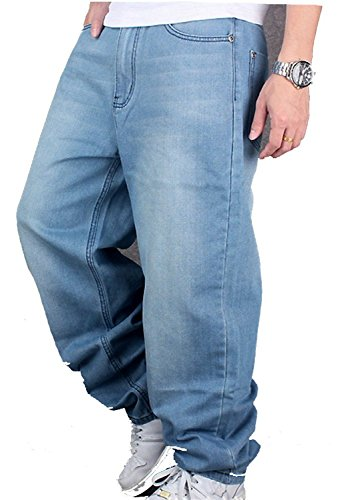 CYSTYLE Herren Jeanshose Baggy Jeans Denim Straight Leg Loose Fit in Hellbalu