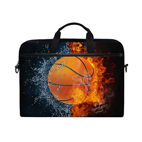 iRoad Canvas Laptop Bag Basketball Water Fire Laptop Bag Case with Shoulder Strap Computer Bag for Women Men Business 14-15 Inch