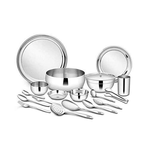 Shri & Sam Stainless Steel Dinner Set, Silver, 101 Piece