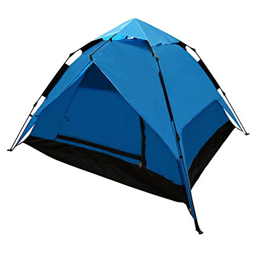 LMJ Automatic Pop Up Camping Tent 4 Person with Sunscreen Coating Waterproof 4 Season Instant Tent for Outdoor (Color : Blue)