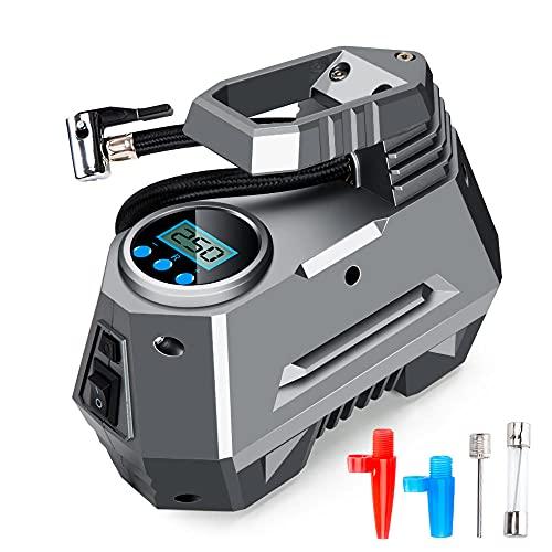 TaoAi Compresor de Aire portátil, Bomba de Aire de Coche DC12V, Bomba Inflable de neumático Digital eléctrico, Mini compresor automático para neumático de Motocicleta de Coche con luz LED