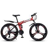 Bicicleta De Montaña De 26'Y 21 Velocidades para Adultos, Cuadro De Aluminio Ligero con Suspensión Completa, Horquilla De Suspensión, Freno De Disco, Rojo, C
