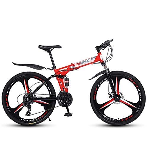 """Bicicleta De Montaña De 26""""Y 21 Velocidades para Adultos, Cuadro De Aluminio Ligero con Suspensión Completa, Horquilla De Suspensión, Freno De Disco, Rojo, C"""