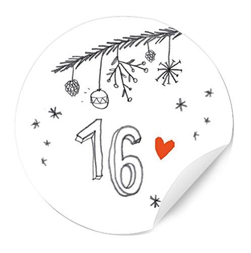 Adventskalendergetallen voor kinderen en volwassenen, ronde cijfers, mat, voor adventskalender, knutselen van papier, zelfklevend, 40 mm, wit grijs met speelse cijfers, kerstdecoratie