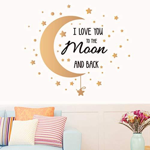 Calcomanías de pared con cita «I Love You to The Moon and Back» para pared, diseño de luna y estrellas de la luna
