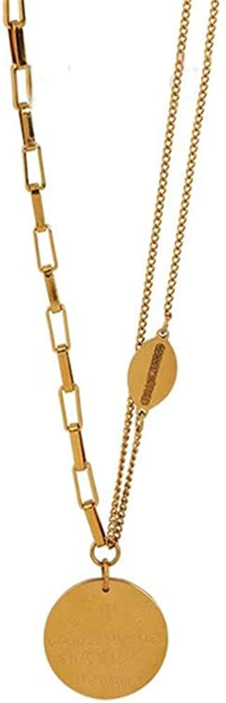 14K Gold Plated Necklace | Dainty Gold Letter Chain Pendant Necklace for Women and Girl ,with Adjustable Extension Chain,Variety of Wearing Methods