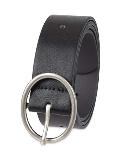 Amazon Essentials Women's Fully Adjustable Casual Belt with Rounded Buckle, Black, Large