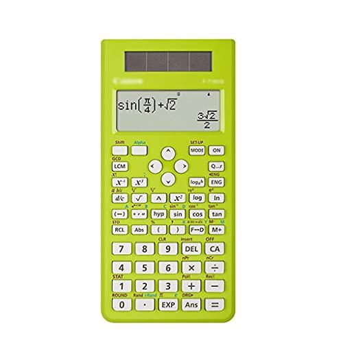 計算機、高度な科学的赤電卓、12敏感ボタン、太陽電池の二重電源、学校検査の学生 (Color : Green)
