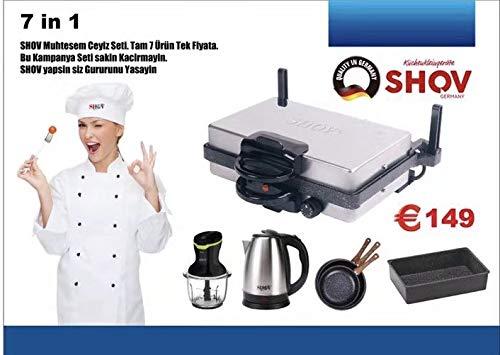 7 in 1 Set Shov Ceyiz Seti Multigrill + Kasserolle + 3er Pfanne + Wasserkocher + Mixer Blender aus TV Werbung