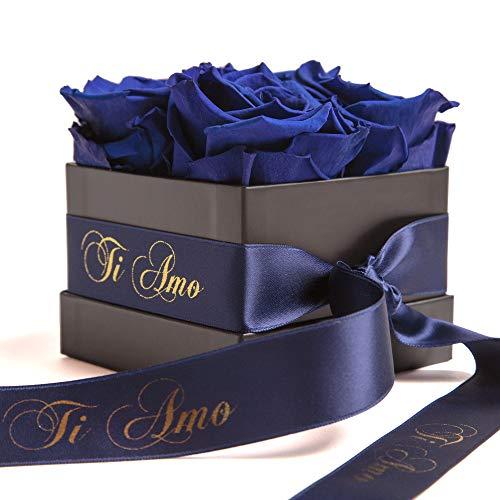 ROSEMARIE SCHULZ Heidelberg Infinity Rosenbox mit blauen Rosen konserviert haltbar 3 Jahre/Flowerbox Liebe für Frauen auf Italienisch (Ti Amo, Blau)