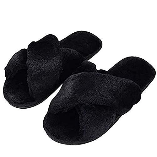HUMIWA Black Cross Slippers Fuzzy Fluffy Faux Fur House SPA Cute Open Toe Slippers for Women Girl/Women8-8.5 Men7-7.5