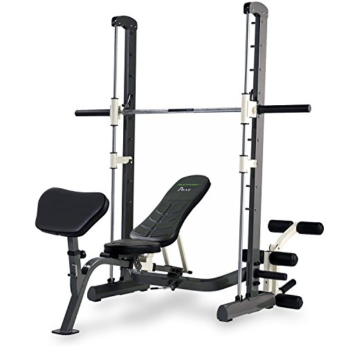 Tunturi Pure Compact Smith Machine Weight Bench with Folding Design - Linear Ball Bearings