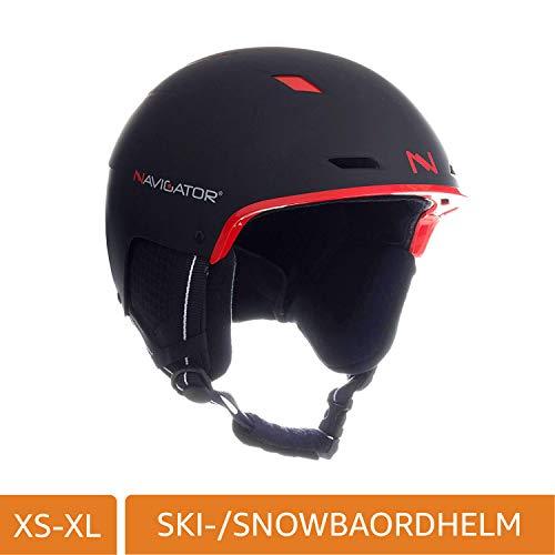 NAVIGATOR TUKAN Skihelm Snowboardhelm, einstellbar, div Farben, XS-XL (SCHWARZ/ROT, M-XL (58-62cm))