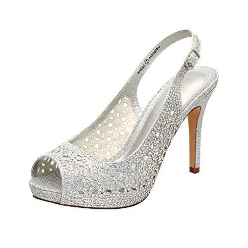 DREAM PAIRS Women's Invest High Heels Platform Sexy Dress Rhinestones Peep Toe Pumps Shoes, Silver Glitter, Size 9.5
