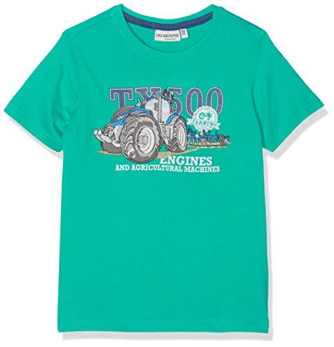 SALT AND PEPPER Jungen Traktor Engines Stick T-Shirt, Grün (Strong Green 688), 128