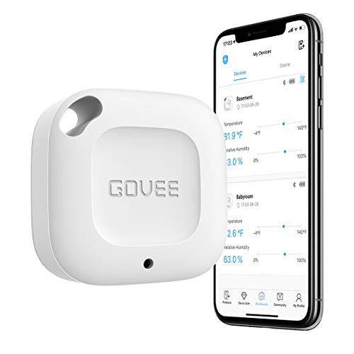 Govee Wireless Thermometer Hygrometer, Mini Bluetooth Humidity and Temperature Sensor with Data...