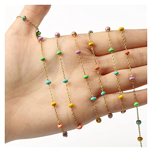 SFSD807 1M de color oro de acero inoxidable de acero inoxidable alambre óvalo envuelto con perlas de cadena de rosario para anklet para joyería para hacer bricolaje accesorios hechos a mano Búsqueda d
