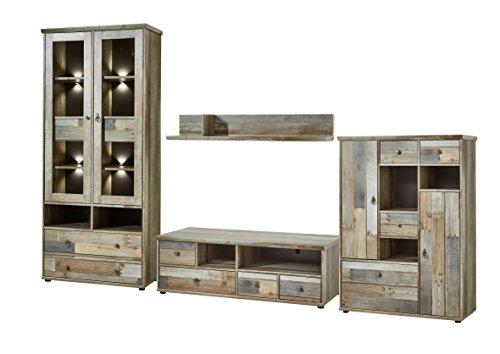 Bonanza Vintage Wohnwand Komplett-Set in Driftwood Optik - Retro Schrankwand für Ihr Wohnzimmer - 342 x 189 x 52 cm (B/H/T)